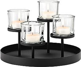 Blomus Tealight/Candle Holder, Steel, Glass, Black, H 21,5 cm, Ø 31,5 cm