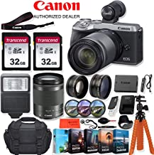 Canon EOS M6 Mark II Mirrorless Digital Camera with 18-150mm Lens (Silver) and EVF-DC2 Viewfinder - 32.5 MP, 4K UHD + Accessory Kit - Vlogging/Photo Editing Software Package, 64GB Memory & More