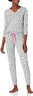 Mae Playera térmica de Manga Larga Henley con Pantalones Conjunto de Pijama para Mujer