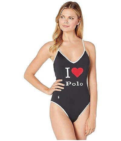 Polo Ralph Lauren I Heart Polo V-Neck X-Back Mio One-Piece Swimsuit (Black) Women