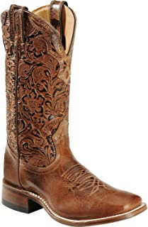 Boulet Women's Hand Tooled Calf Cowgirl Boot Square Toe