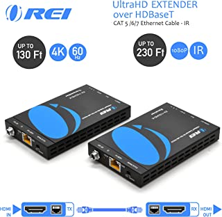OREI HDMI Extender HDBaseT UltraHD Over Single CAT5/CAT6 Cable 4K @ 30Hz & IR Control - Up to 130 Ft - Zero Latency - Power Over Cable
