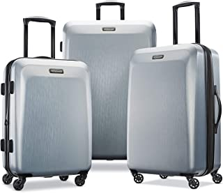 American Tourister Moonlight Hardside Expandable Luggage with Spinner Wheels, Silver, 3-Piece Set (21/24/28)