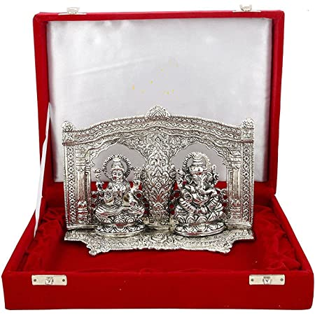 MSA JEWELS Silver Plated Ganesh Laxmi Idol with Velvet Box, 14x19x13.5cm (Silver) - Exclusive Diwali / Corporate/House Warmin Gifts