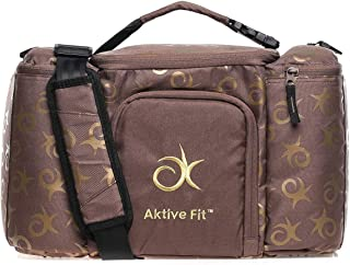 AktiveFit Unisex Monogram Multi Compartment Insulated Lunch Bag, Brown/Gold - BAG3254