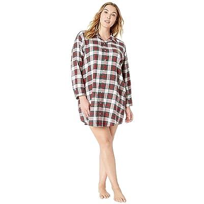 LAUREN Ralph Lauren Plus Size Brushed Twill His Shirt Sleepshirt (Ivory Plaid) Women