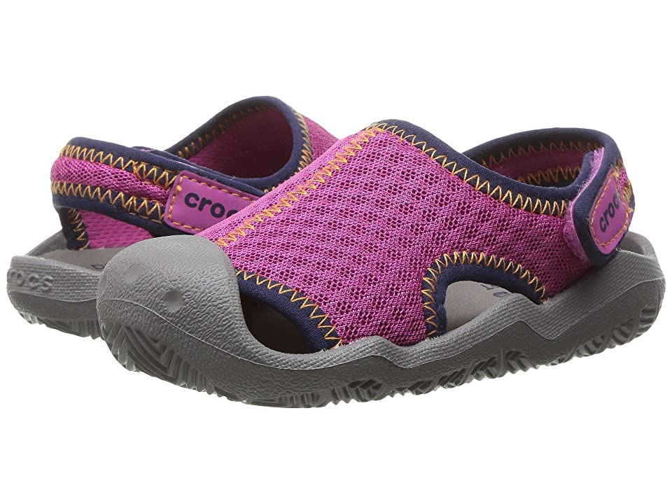 Crocs Kids Swiftwater Sandal (Toddler/Little Kid) (Neon Pink/Smoke) Kids Shoes