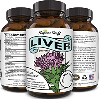 Best Liver Supplements with Milk Thistle - Artichoke - Dandelion Root Support Healthy Liver Function for Men and Women Natural Detox Cleanse Capsules Boost Immune System Relief - Natures Craft