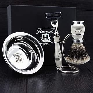 Men's Shaving Set in Ivory Colour ft Triple Edge Compatible Head Razor,Sliver Tip Badger Hair Brush, Dual Stand for Both Razor&Brush and Stainless Steel Bowl.Perfect 4 PCs Gift Kit for Him