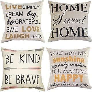 Wonder4 Decorative Quote Words Pillow Case Cotton Linen Square Decorative Throw Pillow Covers Cushion Cover 18