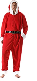 Men's Adult Onesie Holiday Microfleece Jumpsuit One-Piece Pajamas