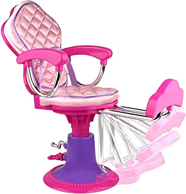 Beverly Hills Doll Collection Salon Chair for 18 Inch American Girl Dolls Fully Assembled with Apron, Cape, and 7 Hair Cuttin