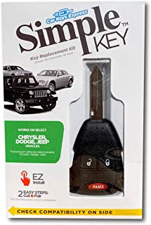 Simple Key Programmer and Key with Remote Fob Buttons: - Designed for Chrysler, Dodge, and Jeep Vehicles (Easy to Program Key Yourself) (3 Button Key Fob (Lock, Unlock, Panic))