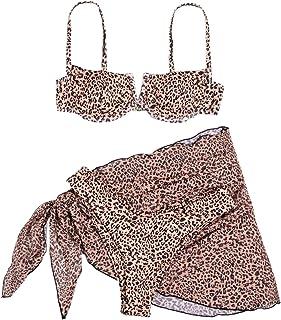 SweatyRocks Women's Cow Print Underwire Swimsuit Bikini Set 3 Piece Bathing Suit with Wrap Skirt