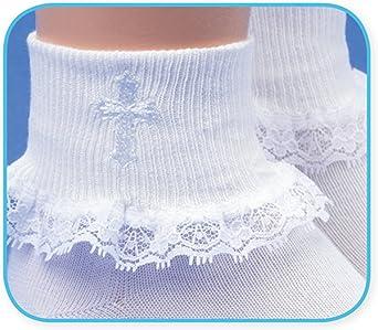 Jefferies Socks Girls First Holy Communion Lace Trim Cross Turn Cuff Socks 1 Pair Pack