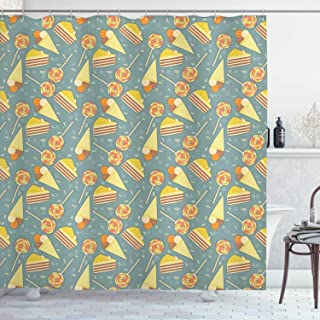 Kids Decor Shower Curtain, Ice Cream Cones Candies Lollipops Images with Blue Grey Backdrop Image Artwork, Fabric Bathroom...