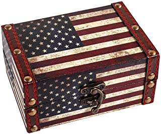 "WaaHome Small Treasure Chest Decorative Wood Jewelry Keepsake Boxes for Kids Girls Boys Gifts Home Decorations,5.5"" LX3.9 WX2.5 H (American Flag)"