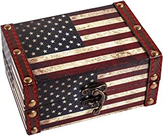 WaaHome Small Treasure Chest Decorative Wood Jewelry Keepsake Boxes for Kids Girls Boys Gifts Home Decorations,5.5