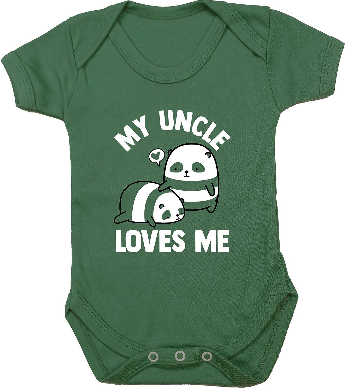 Boys Girls Short Sleeve Hippowarehouse My Uncle Loves Me Panda Baby Vest Bodysuit