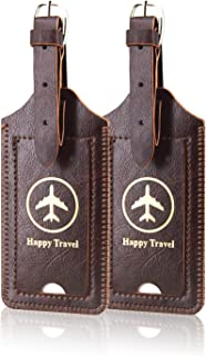 [2 Pack]Luggage Tags, ACdream Leather Case Luggage Bag Tags Travel Tags 2 Pieces Set, Coffee