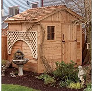 Wood Outdoor Storage Shed - Great Little Shed to Organize Your Garden Tools & Supplies - Space Saver - Very Attractive with One Window & Lockable Door - Red Cedar Construction- Hardware Included -8 ft.x 8 ft-Protect Your Tools-1 Year Warranty