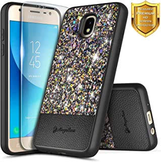 NageBee Case for Samsung Galaxy J7 Crown, J7 Star/J7 Refine/J7 2018/J737/J7 TOP/J7 V 2nd Gen/J7 Aura/J7 Aero with Screen Protector, Glitter Crystal Sparkle Ultra Slim Soft Leather Case -Black