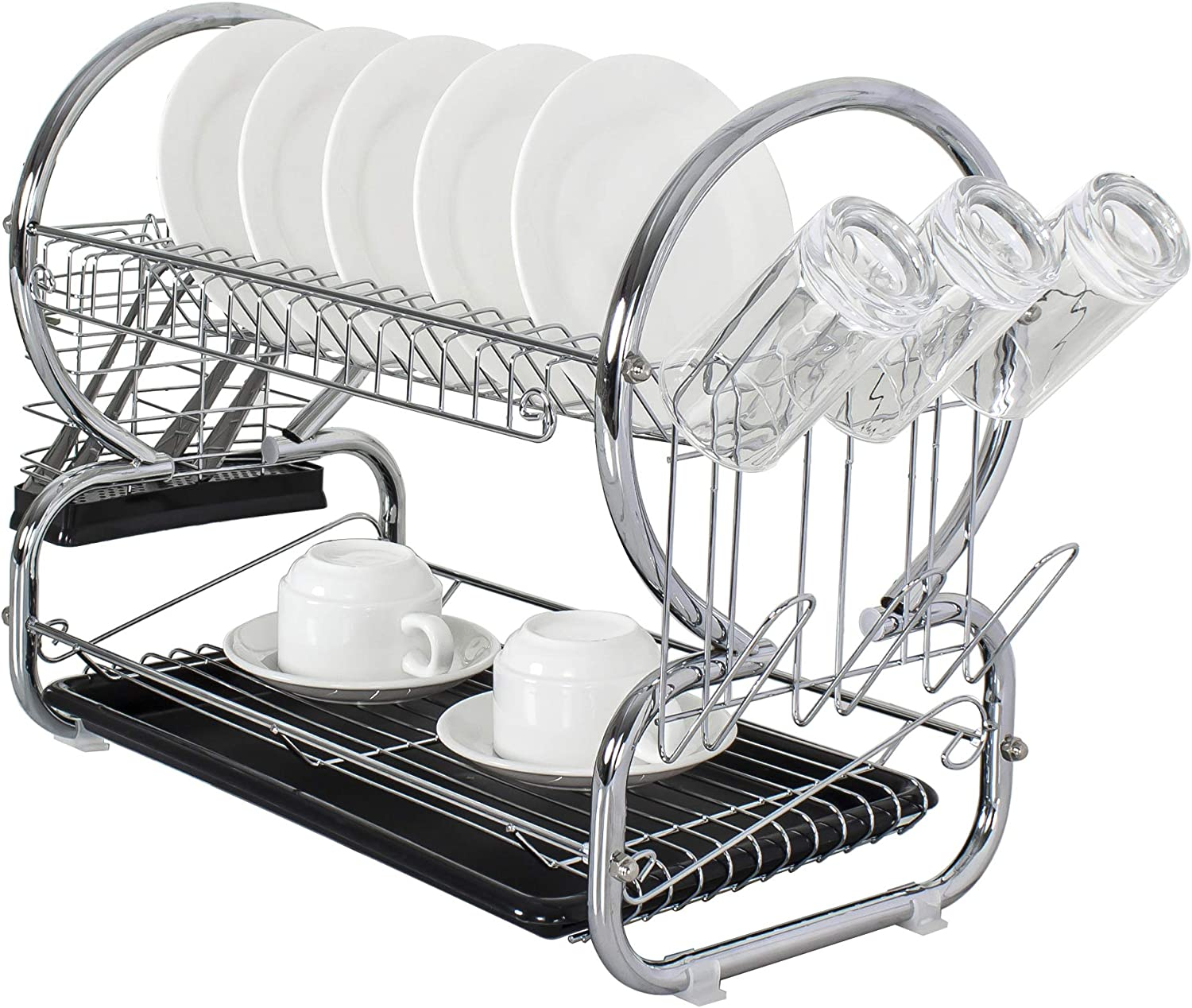 Durable Chrome Rust Proof 2 Tier Black Large Drying 2021 Rack New product type D Dish