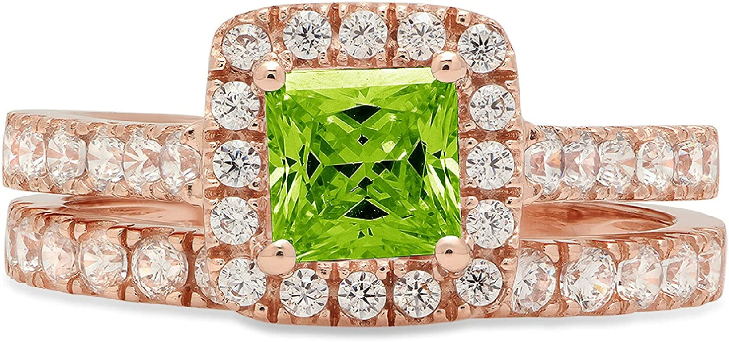 Clara Pucci 1.60ct Princess Cut Halo Pave Solitaire Accent Genuine Flawless Natural Green Peridot Engagement Promise Statement Anniversary Bridal Wedding Ring Band set Solid 18K Rose Gold