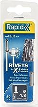 Rapid Blindklinknagels roestvrij staal Ø 4,8 mm, 12-14 mm klembereik, 50 stuks V2A klinknagels, set incl. boor, voor blind...