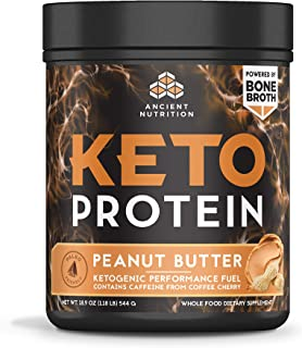 Ancient Nutrition KetoPROTEIN Beef Powder Peanut Butter Flavor, 17 Servings, Keto Diet Supplement, High Quality Low Carb Proteins and Fats from Bone Broth and MCT Oil