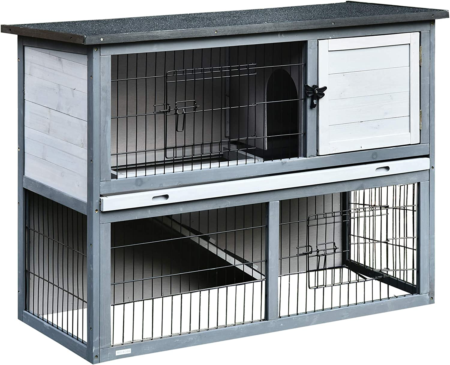 PawHut Wooden SEAL limited product Rabbit Hutch Pet Playpen Door Enclosure House wi Credence 4