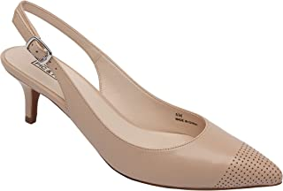 Hazel | Women's Low Heel Perforated Cap Toe Comfortable Slingback Pump