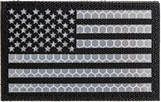 Reflective Tactical Patches of USA American Flag, with Hook and Loop for Backpacks Caps Hats Jackets Pants, Military Army Uniform Morale Emblems, Size 3x2 Inches