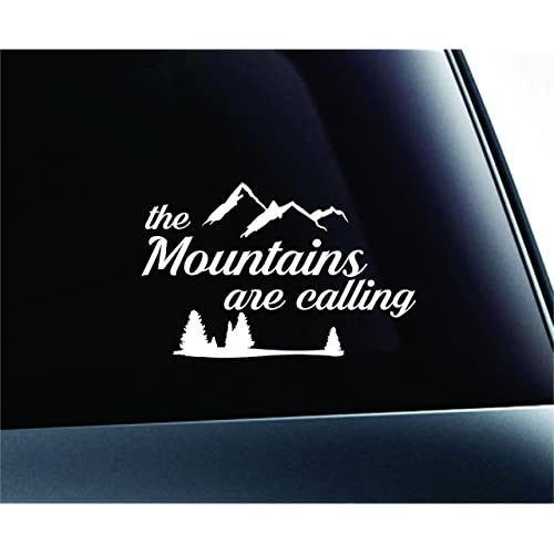 The mountains are calling Hike Hiking Adventure Outdoors Camping Computer Laptop Symbol Decal Family Love Car Truck Sticker Window (White)