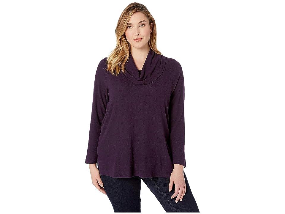 Karen Kane Plus Plus Size Cowl Neck Sweater (Eggplant) Women