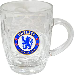 Chelsea FC Official Glass Football Crest Tankard/Pint Glass
