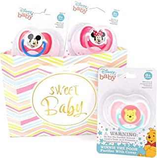 Winnie The Pooh Deluxe Pacifier, Mickey Mouse, and Minnie with Covers, Set of 3 with Gift Bag