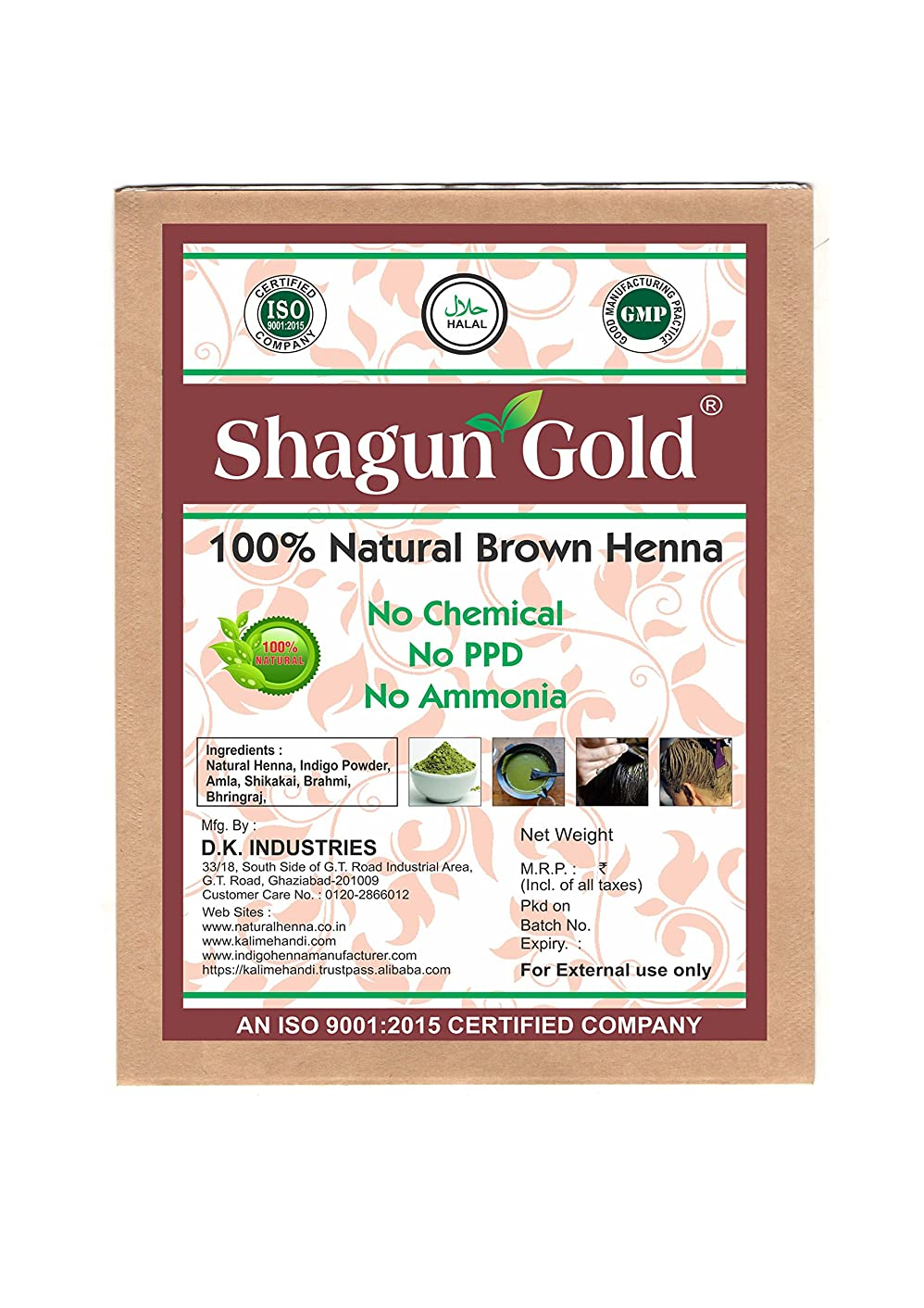 日帰り旅行に有効のれんShagun Gold A 100% Natural 100% Natural Natural Black Henna For Hair Certified By Gmp / Halal / ISO-9001-2015 No Ammonia, No PPD, Chemical Free 14 Oz / ( 1 / 2 lb ) / 400g