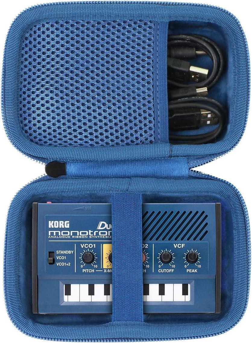 Estuche negro + cremallera azul co2CREA Duro Viajar caja estuche funda para Korg Monotron Duo Sintetizador(funda solo)