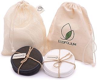 Ecofolium Reusable Makeup Remover Pads - 14 Organic Bamboo Cotton Rounds - Cotton Laundry Bag + Cotton Travel Bag - 3-Laye...