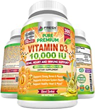 Premium Vitamin D3 10000 IU (250mcg) Infused with Extra Virgin Olive Oil - Immune Support - 300 Softgels - Supports Heart,...