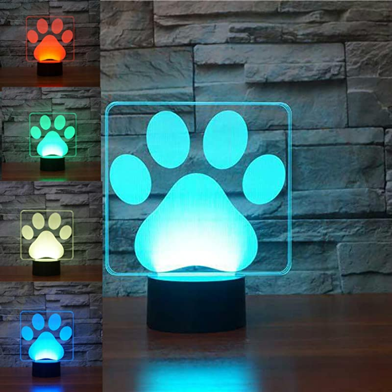 3D Dog Paw Night Light Table Desk Optical Illusion Lamps 7 Color Changing Lights LED Table Lamp Xmas Home Love Brithday Children Kids Decor Toy Gift