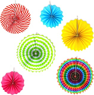 Big Mo's Toys Paper Fans – Pink Green and Blue Mexican Fiesta Party Decorations Supplies Paper Fan Rosettes
