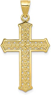 22 in, Length Jay Seiler Stainless Steel Antiqued /& Polished Yellow IP-Plated w//CZ Cross Necklace