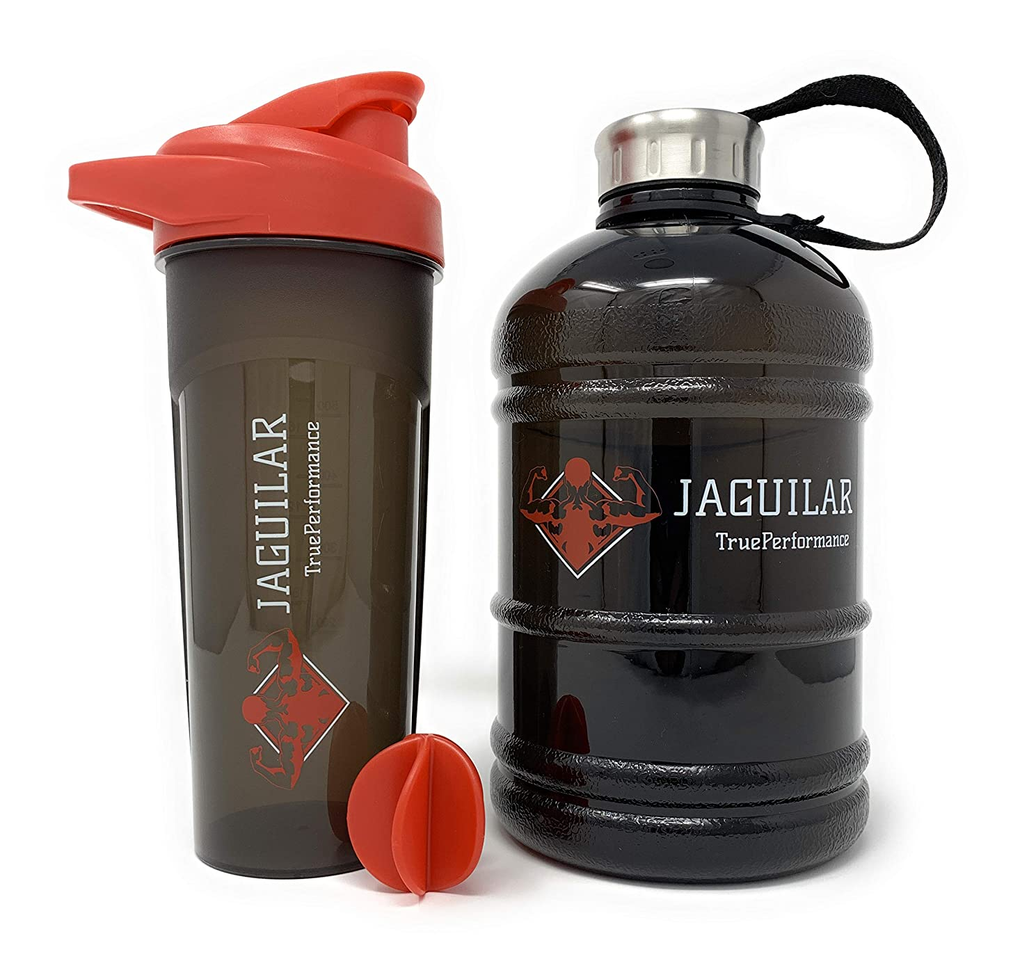 Half Gallon Water Jug + 24 Ounce Protein Shaker Bottle For Indoor/Outdoor Workouts, BPA & DEHP Free, Leak and Spill Proof, 64 Ounce Sports Water Bottle For Gym Hiking Cycling Running,