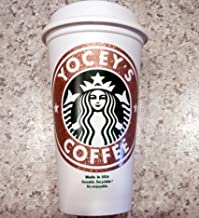 Personalized GLITTER STARBUCK's 16 oz. Reusable Travel Mug & Lid - Add Your Name Phrase Drink Type