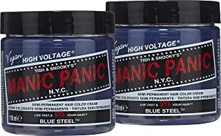 Manic Panic Blue Steel Hair Color Cream (2-Pack) Classic High Voltage - Semi-Permanent Hair Dye - Vivid, Silver Shade - For Dark, Light Hair – Vegan, PPD & Ammonia-Free - Ready-to-Use, No-Mix Coloring