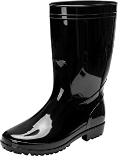 Comwarm Men Waterproof Snow Rain Boots Anti-Slip PVC Black Adult Outdoor Work Rubber Boots