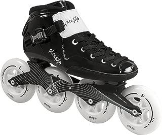 Playlife Youth Powerslide Performance Inline Speed Skates - Glass-Fiber Heat Moldable (EU 45 / Adult 12)