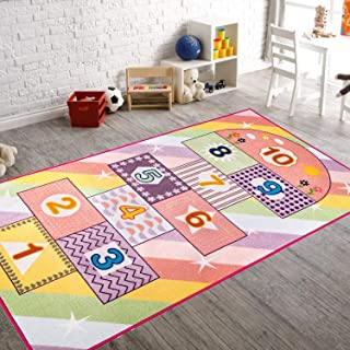 Booooom Jackson Hopscotch Kid Rug for Playroom,Kid's Room,Nursery and Classroom,40''x70'' Pink Kids Rugs Carpet for Girls,Educational and Fun Game Rug with Non-Slip Backing